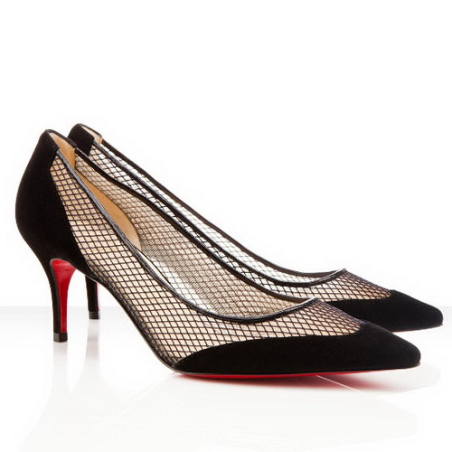 Mireille-70mm-Suede-and-Fishnet-Red-Bottom-Heels-Black